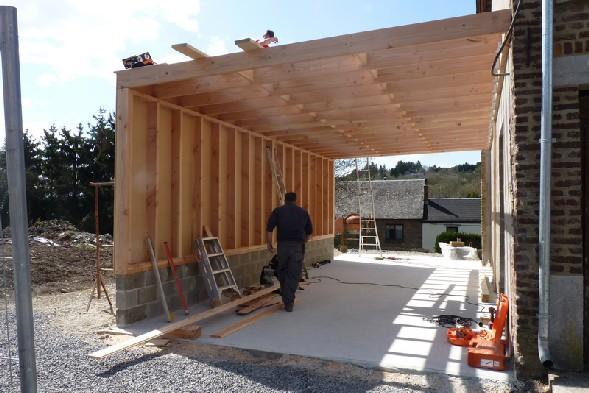 extensions et carports en ossature bois menuiserie de clercq. Black Bedroom Furniture Sets. Home Design Ideas